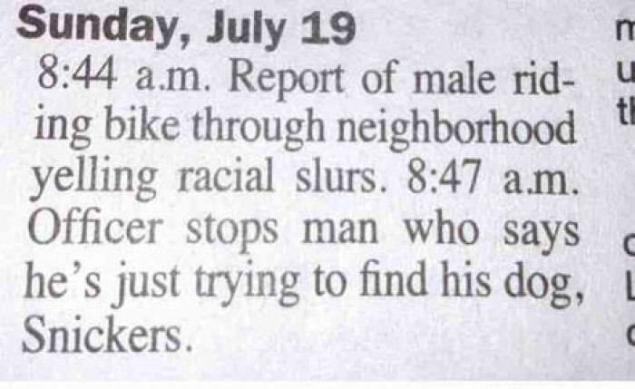 Report Of Male Making Racial Slurs