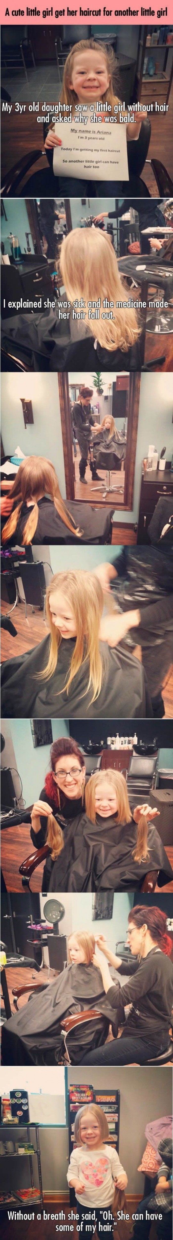 3 Year Old Girl Cuts Her hair To Give To A Kid With Cancer