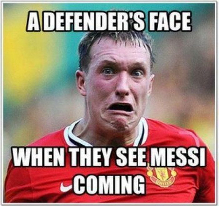defender's face when they see Messi coming