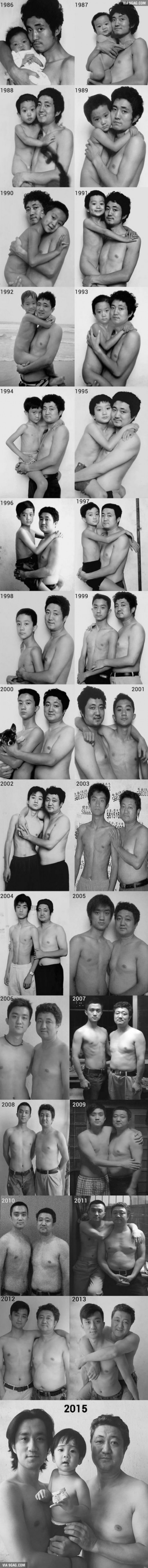 Father And Son Take The Same Photo Every Year, The Last One's The Best