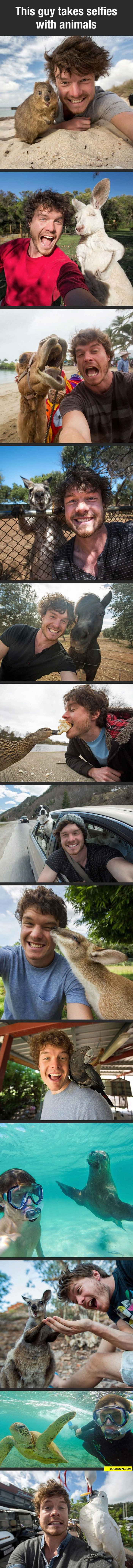 Guy Goes Travelling And Takes Selfies With Animals