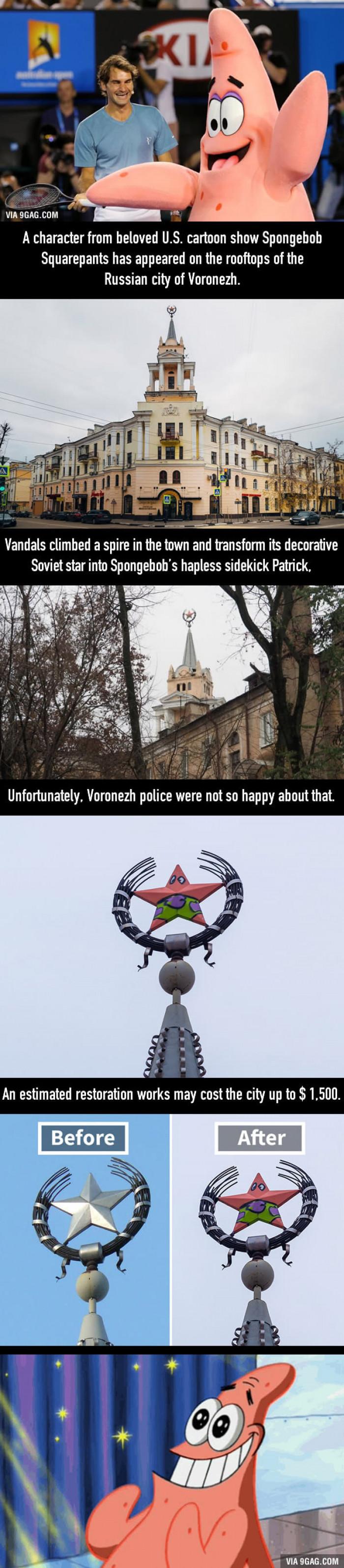 Russian Vandals Turn Soviet Star into Spongebob's Patrick
