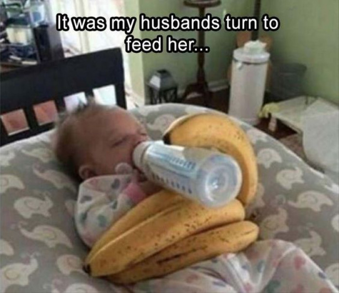 When It's The Husband's Turn To Feed The Baby