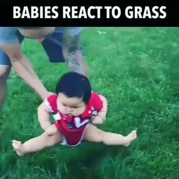 Baby Isn't Sure About Grass