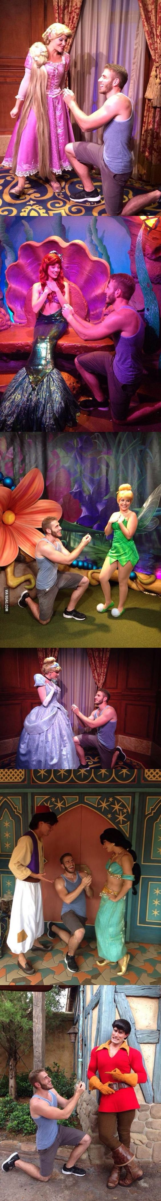 Guy proposes to various Disney characters