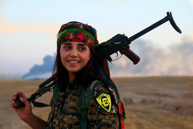 Kurdish female soldier