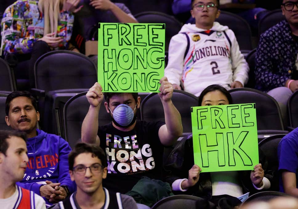 Sixers fans protest during preseason game with the Guangzhou Loong Lions last night