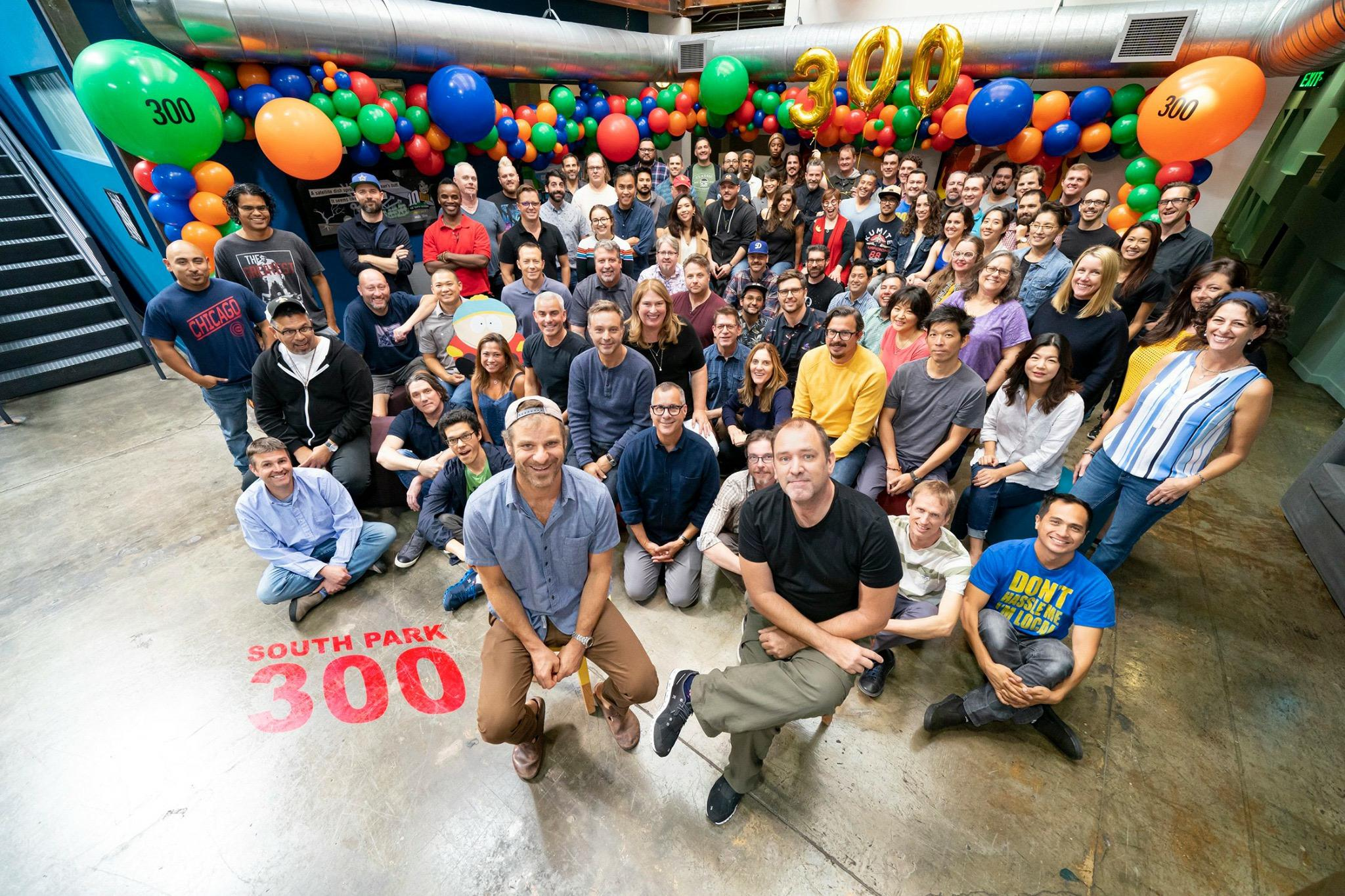 The entire crew behind South Park celebrating their 300th episode